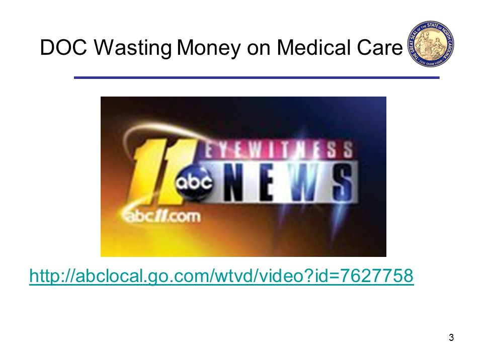 3 DOC Wasting Money on Medical Care   id=