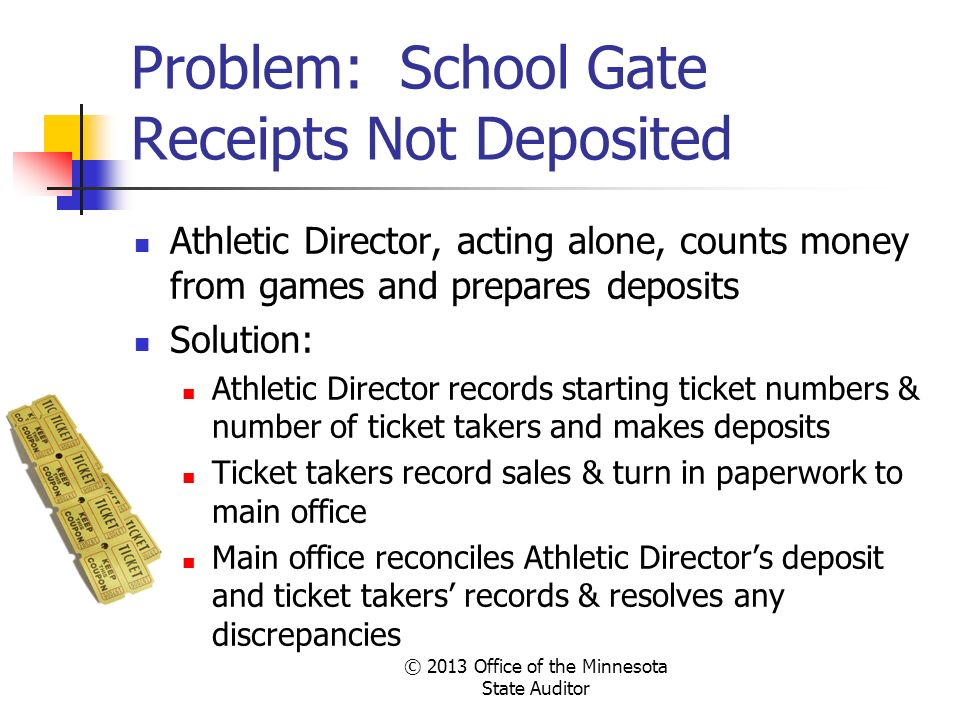 Problem: School Gate Receipts Not Deposited Athletic Director, acting alone, counts money from games and prepares deposits Solution: Athletic Director