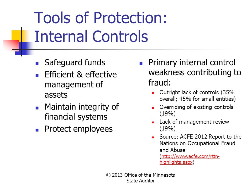 Tools of Protection: Internal Controls Safeguard funds Efficient & effective management of assets Maintain integrity of financial systems Protect empl