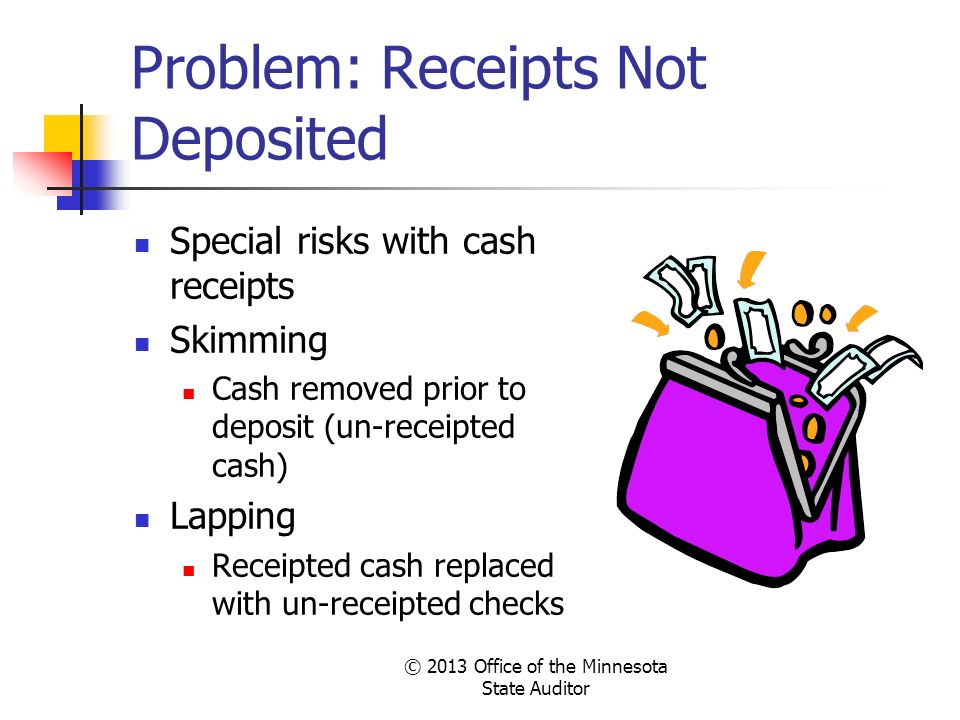 Problem: Receipts Not Deposited Special risks with cash receipts Skimming Cash removed prior to deposit (un-receipted cash) Lapping Receipted cash rep