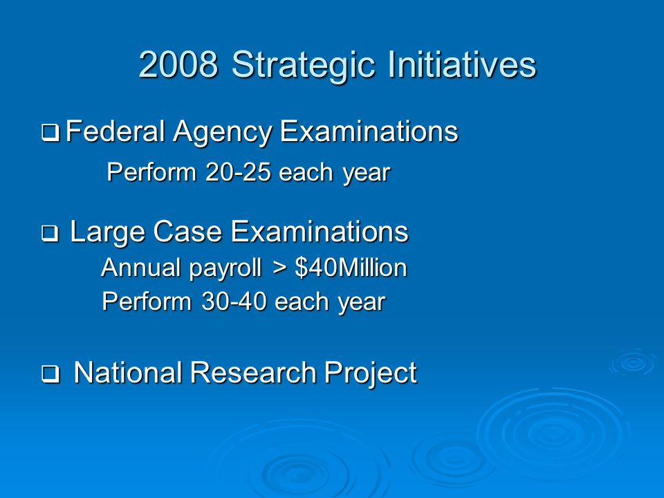2008 Strategic Initiatives 2008 Strategic Initiatives Federal Agency Examinations Federal Agency Examinations Perform 20-25 each year Perform 20-25 ea