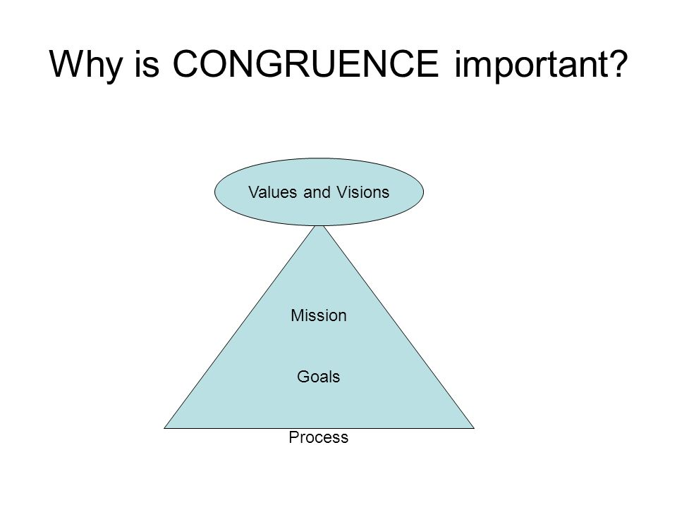 Why is CONGRUENCE important? Mission Goals Process Values and Visions