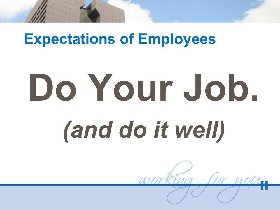 Expectations of Employees Do Your Job. (and do it well)