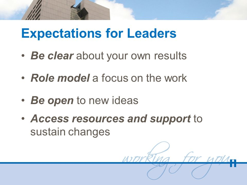 Expectations for Leaders Be clear about your own results Role model a focus on the work Be open to new ideas Access resources and support to sustain c