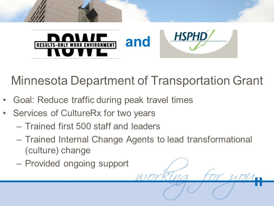 and Minnesota Department of Transportation Grant Goal: Reduce traffic during peak travel times Services of CultureRx for two years –Trained first 500