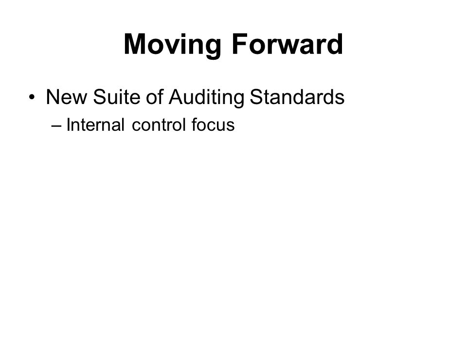 Moving Forward New Suite of Auditing Standards –Internal control focus