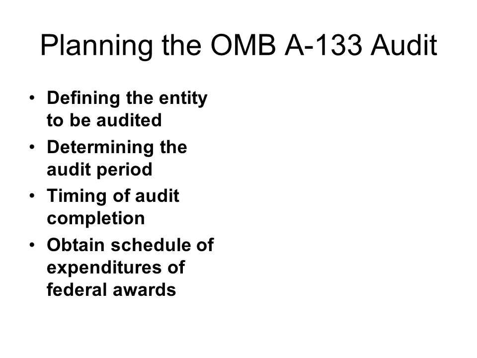 Planning the OMB A-133 Audit Defining the entity to be audited Determining the audit period Timing of audit completion Obtain schedule of expenditures of federal awards