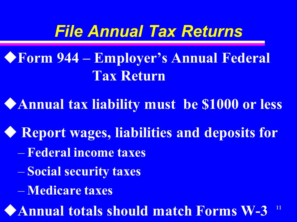 11 File Annual Tax Returns uForm 944 – Employers Annual Federal Tax Return uAnnual tax liability must be $1000 or less u Report wages, liabilities and deposits for –Federal income taxes –Social security taxes –Medicare taxes uAnnual totals should match Forms W-3