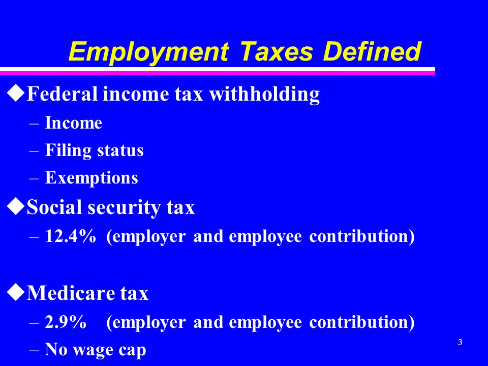 3 Employment Taxes Defined uFederal income tax withholding –Income –Filing status –Exemptions uSocial security tax –12.4% (employer and employee contribution) uMedicare tax –2.9% (employer and employee contribution) –No wage cap