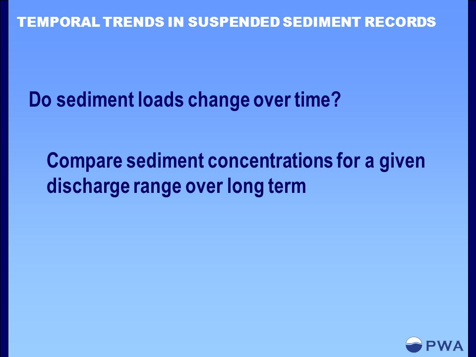 TEMPORAL TRENDS IN SUSPENDED SEDIMENT RECORDS Do sediment loads change over time.