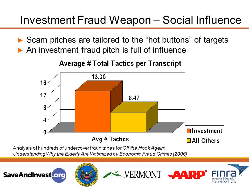Scam pitches are tailored to the hot buttons of targets An investment fraud pitch is full of influence Analysis of hundreds of undercover fraud tapes for Off the Hook Again: Understanding Why the Elderly Are Victimized by Economic Fraud Crimes (2006) Investment Fraud Weapon – Social Influence