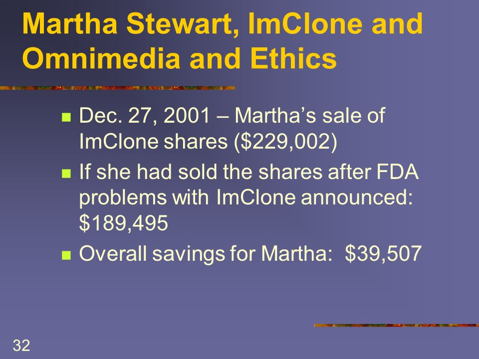 32 Martha Stewart, ImClone and Omnimedia and Ethics Dec. 27, 2001 – Marthas sale of ImClone shares ($229,002) If she had sold the shares after FDA pro