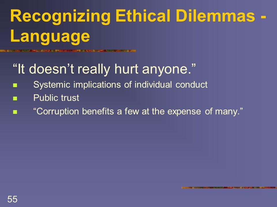 55 Recognizing Ethical Dilemmas - Language It doesnt really hurt anyone.