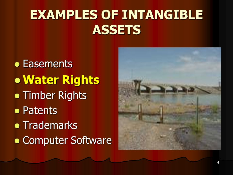 4 EXAMPLES OF INTANGIBLE ASSETS Easements Easements Water Rights Water Rights Timber Rights Timber Rights Patents Patents Trademarks Trademarks Comput