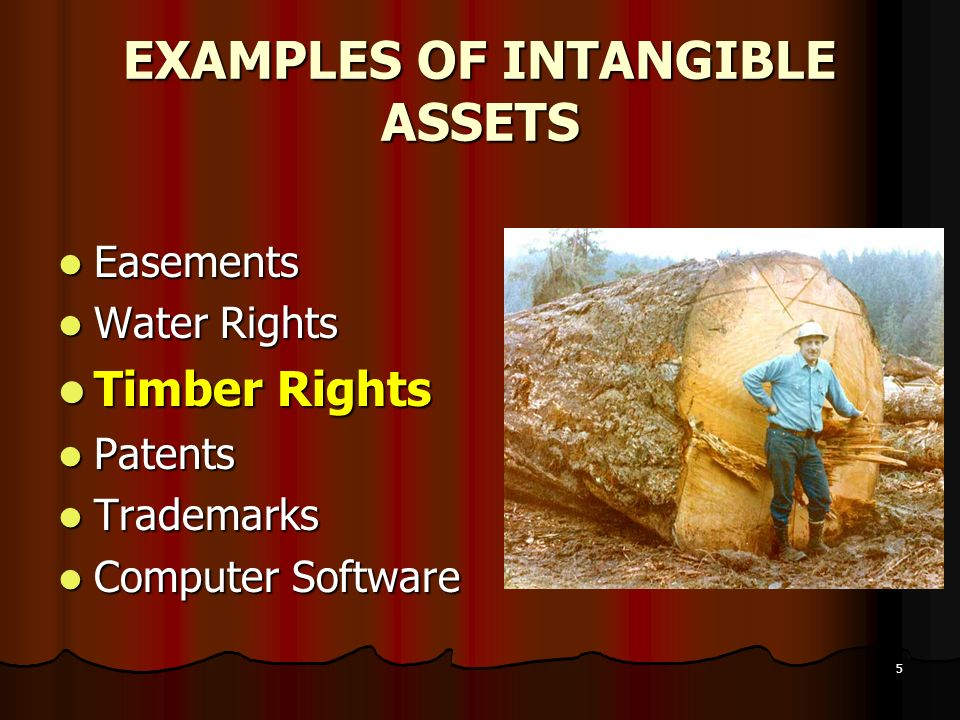 5 EXAMPLES OF INTANGIBLE ASSETS Easements Easements Water Rights Water Rights Timber Rights Timber Rights Patents Patents Trademarks Trademarks Comput
