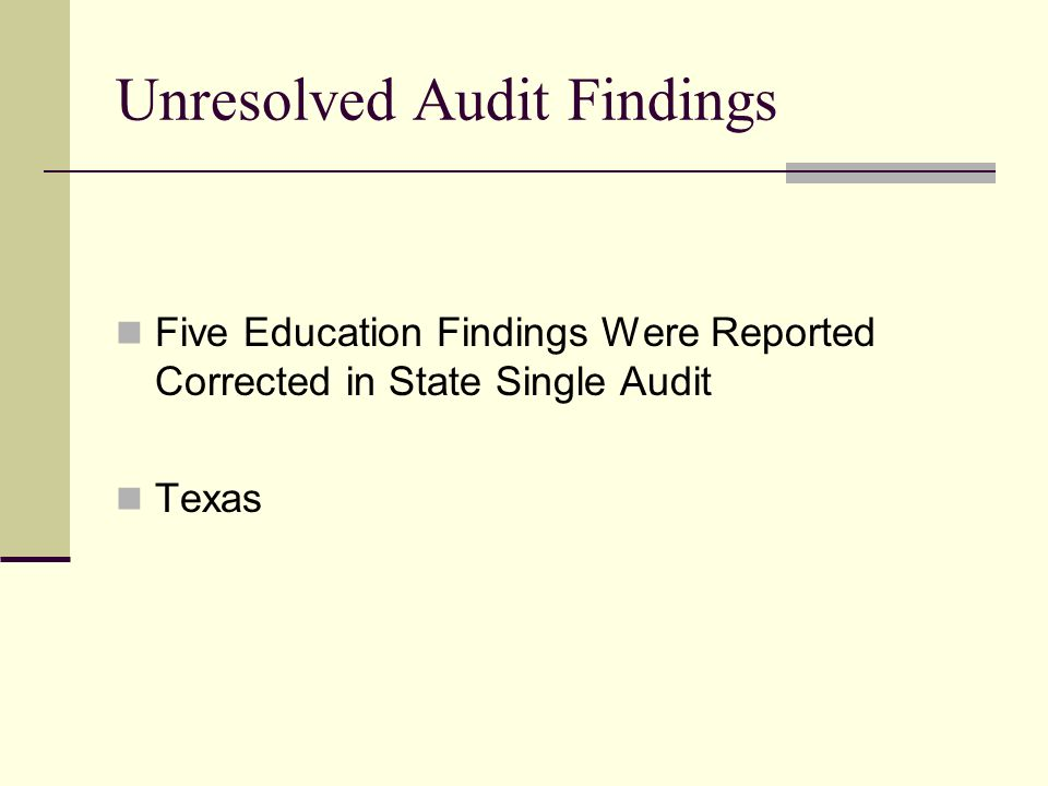 Unresolved Audit Findings Five Education Findings Were Reported Corrected in State Single Audit Texas