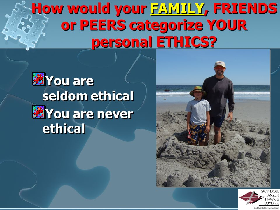 97 How would your FAMILY, FRIENDS or PEERS categorize YOUR personal ETHICS? You are always ethical You are mostly ethical You are somewhat ethical You