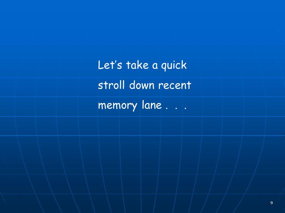 9 Lets take a quick stroll down recent memory lane...
