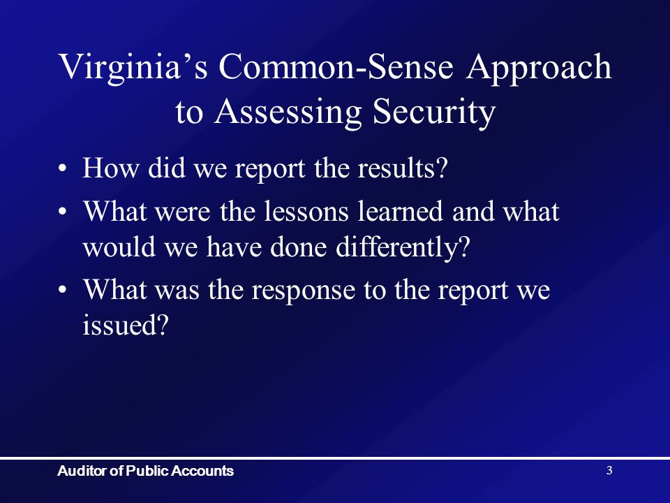 Auditor of Public Accounts 54 Contact Information J Kenneth Magee (804) 225-3350 Ext 6450 kenneth.magee@apa.virginia.gov Staci Henshaw (804) 225-3350 Ext 352 staci.henshaw@apa.virginia.govtaci.henshaw@apa.virginia.gov If you want a copy of the checklist please leave me a business card and write CHECKLIST on the back of it.