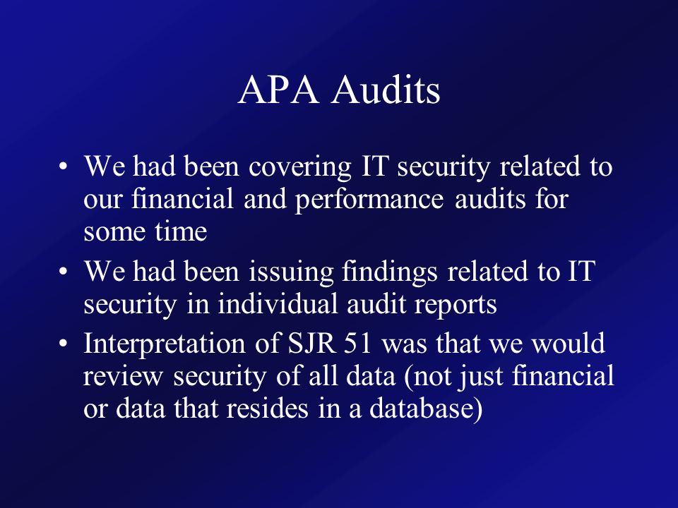 Auditor of Public Accounts 39 How did APA report the results.