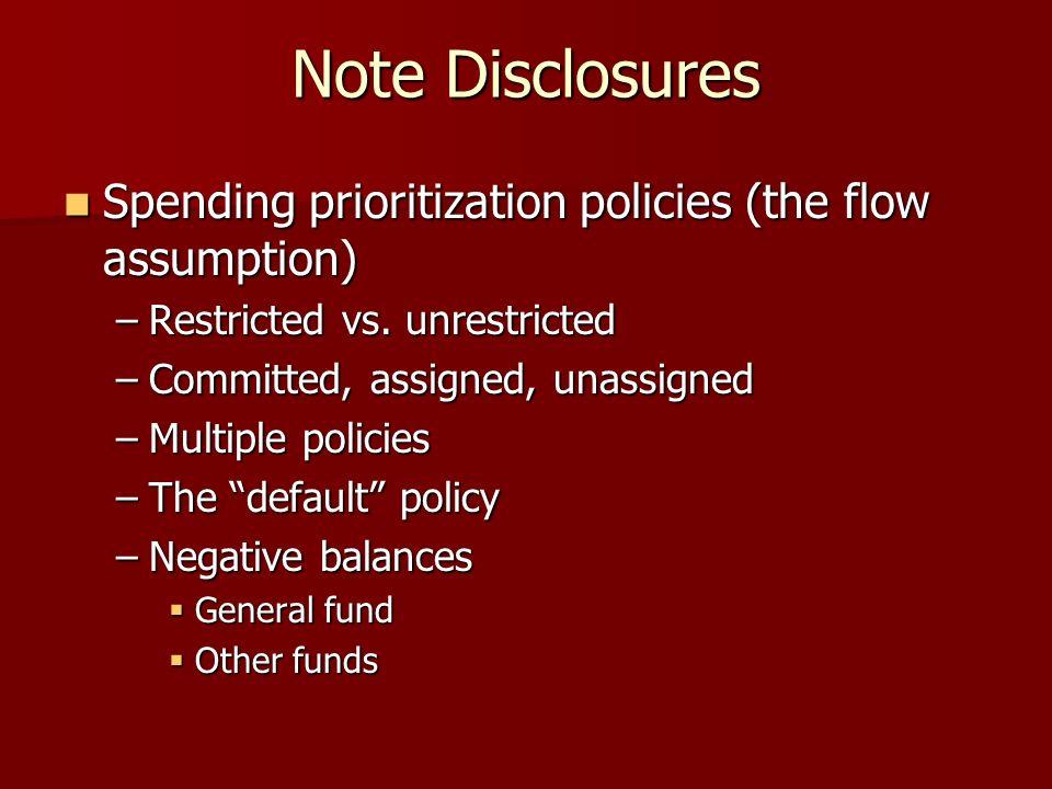 Note Disclosures Spending prioritization policies (the flow assumption) Spending prioritization policies (the flow assumption) –Restricted vs.
