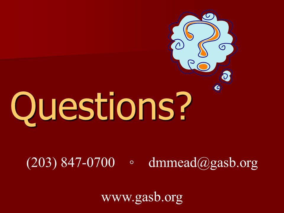 Questions (203) 847-0700 dmmead@gasb.org www.gasb.org