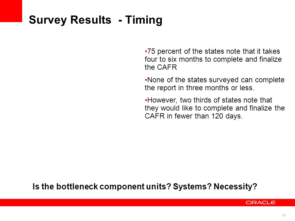 21 Survey Results - Timing 75 percent of the states note that it takes four to six months to complete and finalize the CAFR None of the states surveyed can complete the report in three months or less.