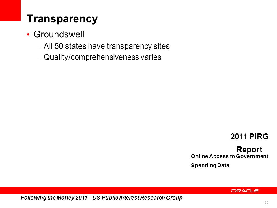 30 Transparency Groundswell – All 50 states have transparency sites – Quality/comprehensiveness varies Following the Money 2011 – US Public Interest Research Group 2011 PIRG Report Online Access to Government Spending Data