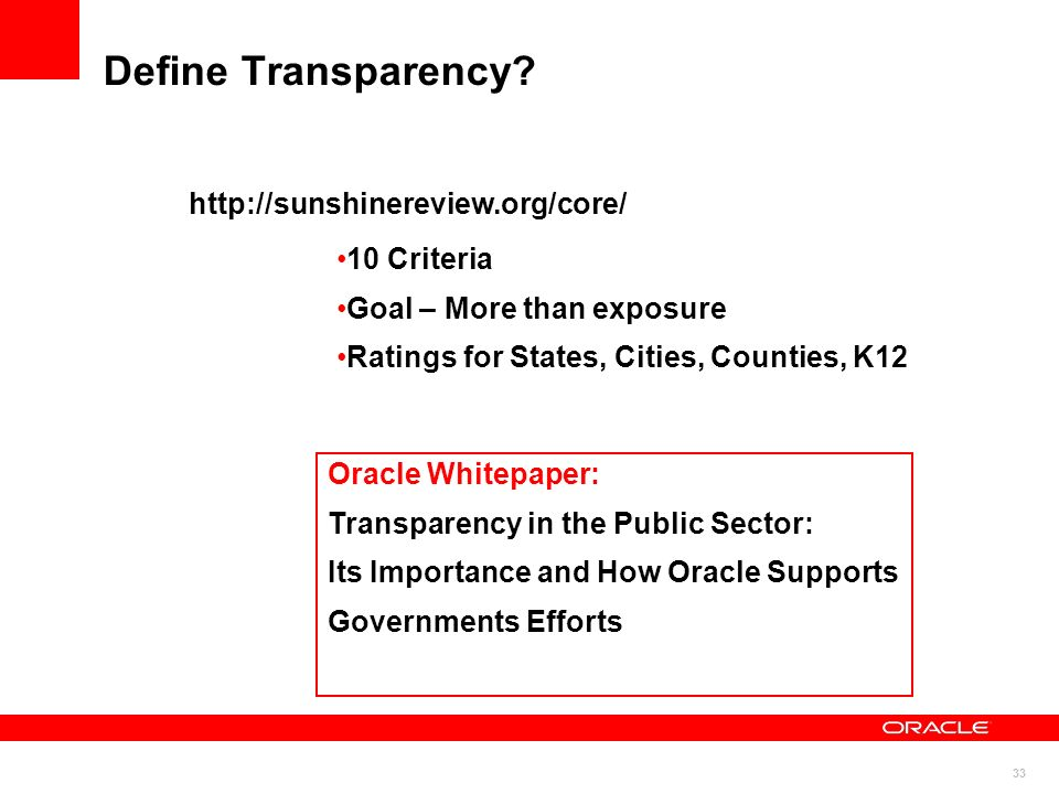 33 Define Transparency.