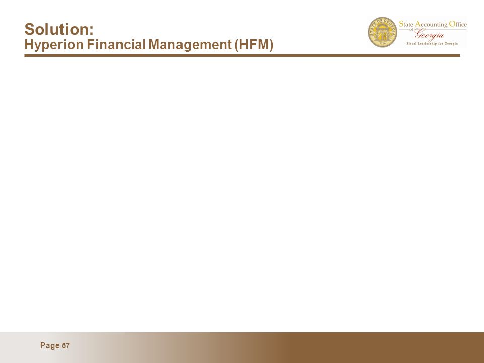 Page 57 Solution: Hyperion Financial Management (HFM)