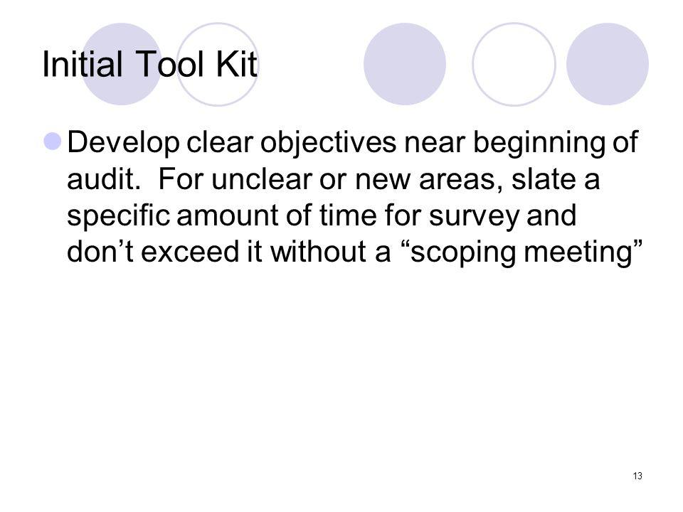 13 Initial Tool Kit Develop clear objectives near beginning of audit. For unclear or new areas, slate a specific amount of time for survey and dont ex