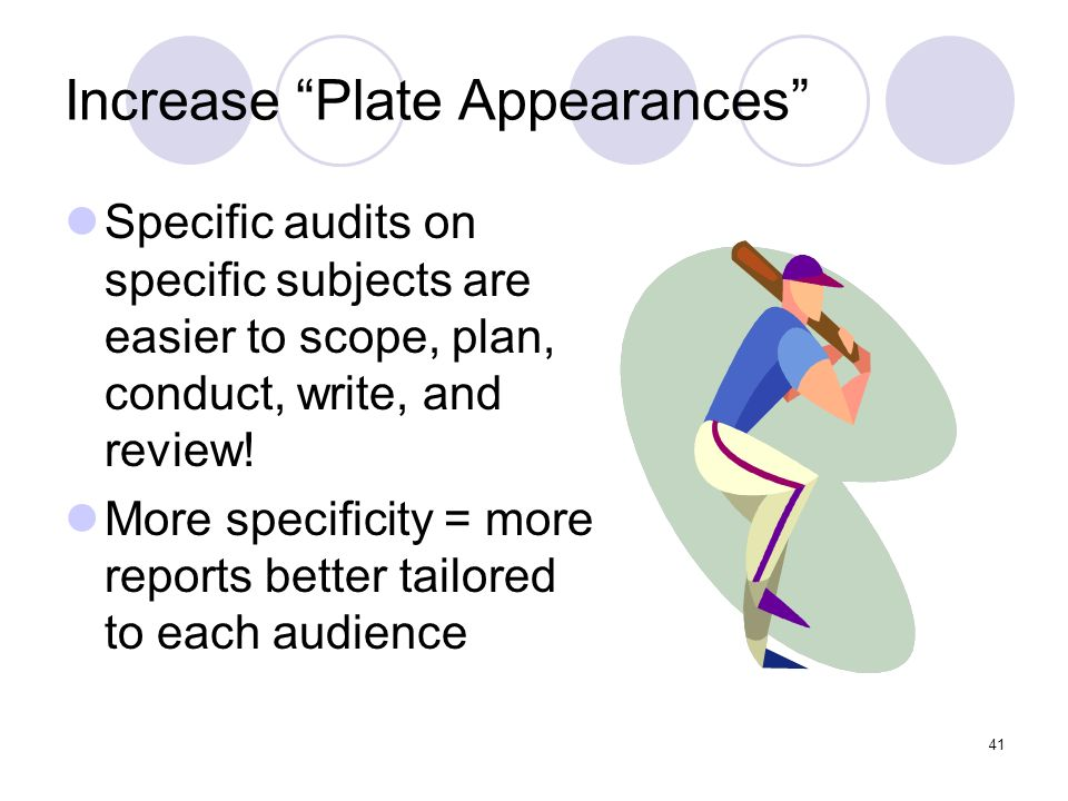 41 Increase Plate Appearances Specific audits on specific subjects are easier to scope, plan, conduct, write, and review! More specificity = more repo