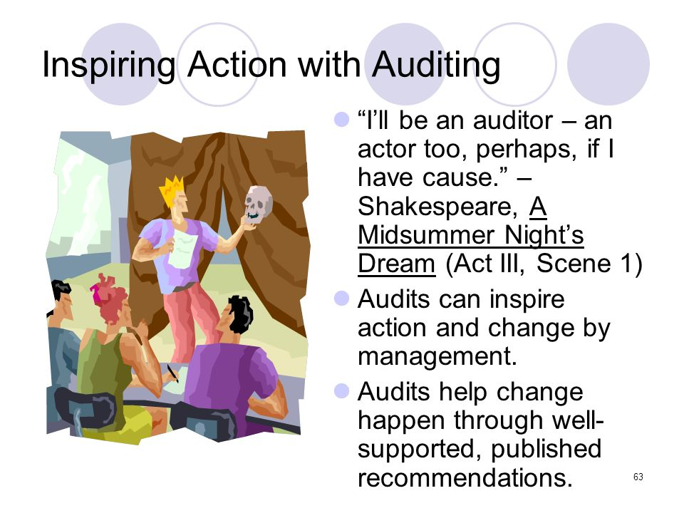 63 Inspiring Action with Auditing Ill be an auditor – an actor too, perhaps, if I have cause. – Shakespeare, A Midsummer Nights Dream (Act III, Scene