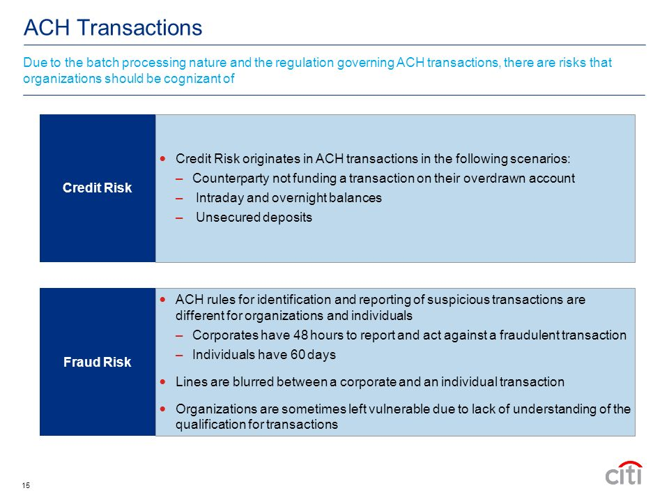 15 ACH Transactions Due to the batch processing nature and the regulation governing ACH transactions, there are risks that organizations should be cognizant of Credit Risk originates in ACH transactions in the following scenarios: –Counterparty not funding a transaction on their overdrawn account – Intraday and overnight balances – Unsecured deposits ACH rules for identification and reporting of suspicious transactions are different for organizations and individuals –Corporates have 48 hours to report and act against a fraudulent transaction –Individuals have 60 days Lines are blurred between a corporate and an individual transaction Organizations are sometimes left vulnerable due to lack of understanding of the qualification for transactions Credit Risk Fraud Risk