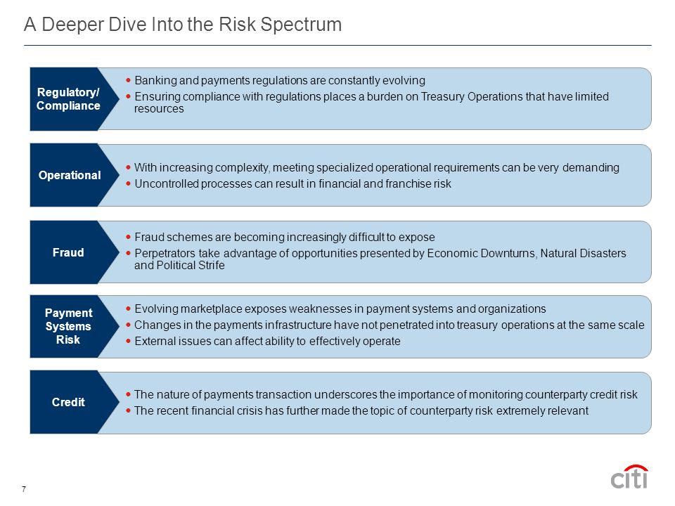 7 A Deeper Dive Into the Risk Spectrum The nature of payments transaction underscores the importance of monitoring counterparty credit risk The recent financial crisis has further made the topic of counterparty risk extremely relevant Credit Banking and payments regulations are constantly evolving Ensuring compliance with regulations places a burden on Treasury Operations that have limited resources Regulatory/ Compliance Evolving marketplace exposes weaknesses in payment systems and organizations Changes in the payments infrastructure have not penetrated into treasury operations at the same scale External issues can affect ability to effectively operate Payment Systems Risk With increasing complexity, meeting specialized operational requirements can be very demanding Uncontrolled processes can result in financial and franchise risk Operational Fraud schemes are becoming increasingly difficult to expose Perpetrators take advantage of opportunities presented by Economic Downturns, Natural Disasters and Political Strife Fraud