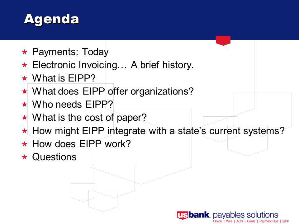 Agenda Payments: Today Electronic Invoicing… A brief history.