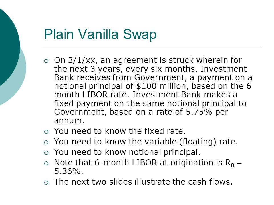 Plain Vanilla Swap On 3/1/xx, an agreement is struck wherein for the next 3 years, every six months, Investment Bank receives from Government, a payment on a notional principal of $100 million, based on the 6 month LIBOR rate.