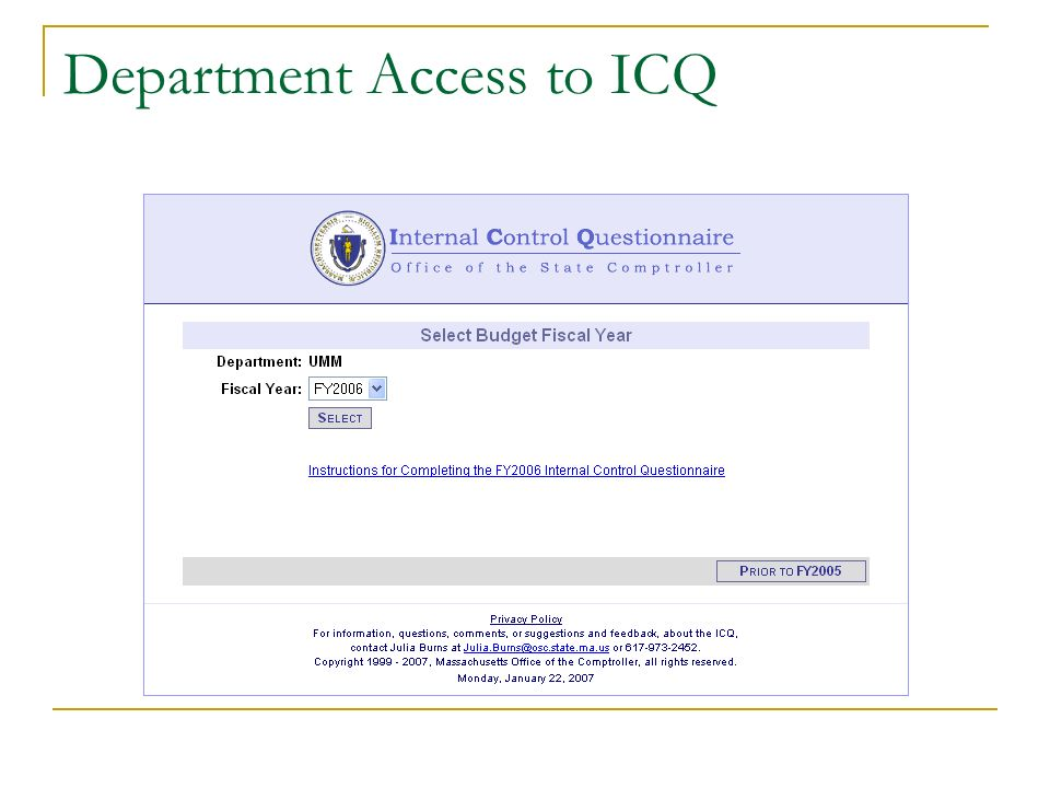 Department Access to ICQ