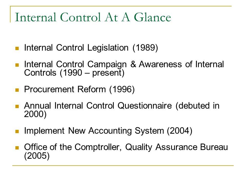 Internal Control At A Glance Internal Control Legislation (1989) Internal Control Campaign & Awareness of Internal Controls (1990 – present) Procureme