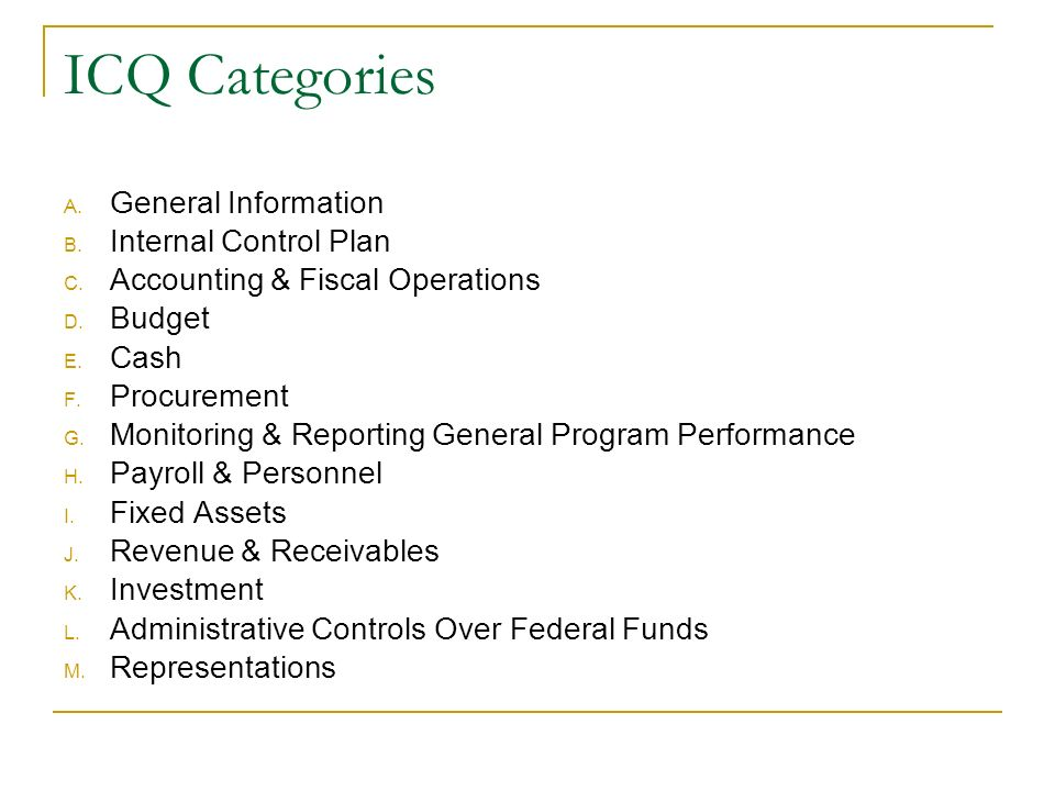 ICQ Categories A. General Information B. Internal Control Plan C.