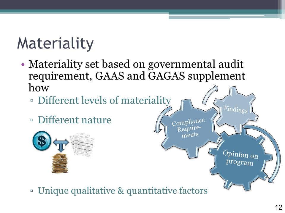 Materiality Materiality set based on governmental audit requirement, GAAS and GAGAS supplement how Different levels of materiality Different nature Unique qualitative & quantitative factors Opinion on program Compliance Require- ments Findings 12