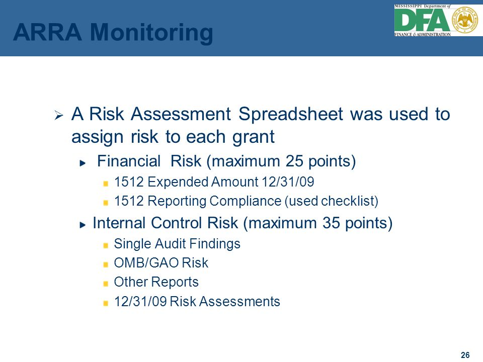 26 ARRA Monitoring A Risk Assessment Spreadsheet was used to assign risk to each grant Financial Risk (maximum 25 points) 1512 Expended Amount 12/31/09 1512 Reporting Compliance (used checklist) Internal Control Risk (maximum 35 points) Single Audit Findings OMB/GAO Risk Other Reports 12/31/09 Risk Assessments 26