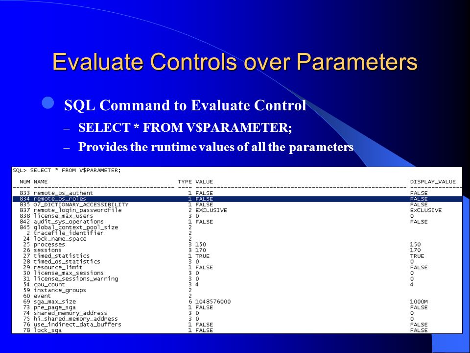 Evaluate Controls over Parameters SQL Command to Evaluate Control – SELECT * FROM V$PARAMETER; – Provides the runtime values of all the parameters