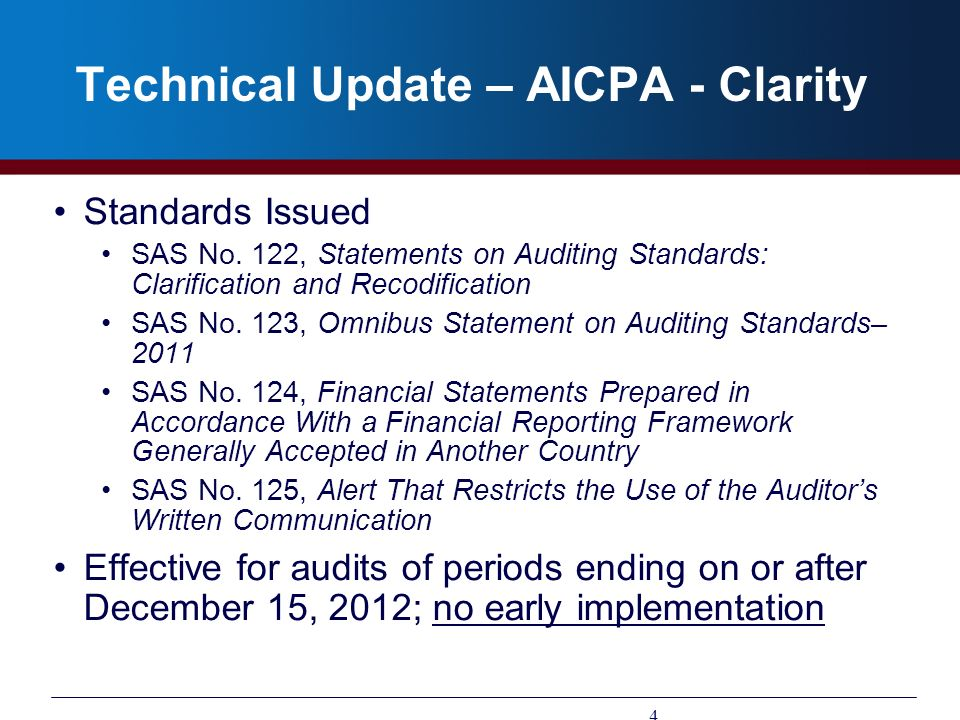 Technical Update – AICPA - Clarity Standards Issued SAS No. 122, Statements on Auditing Standards: Clarification and Recodification SAS No. 123, Omnib