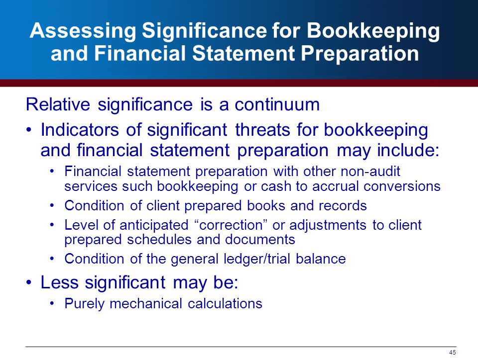 45 Assessing Significance for Bookkeeping and Financial Statement Preparation Relative significance is a continuum Indicators of significant threats f