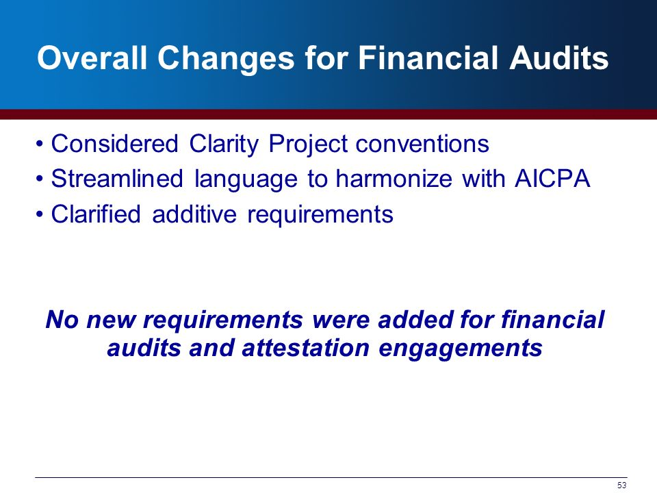 53 Overall Changes for Financial Audits Considered Clarity Project conventions Streamlined language to harmonize with AICPA Clarified additive require