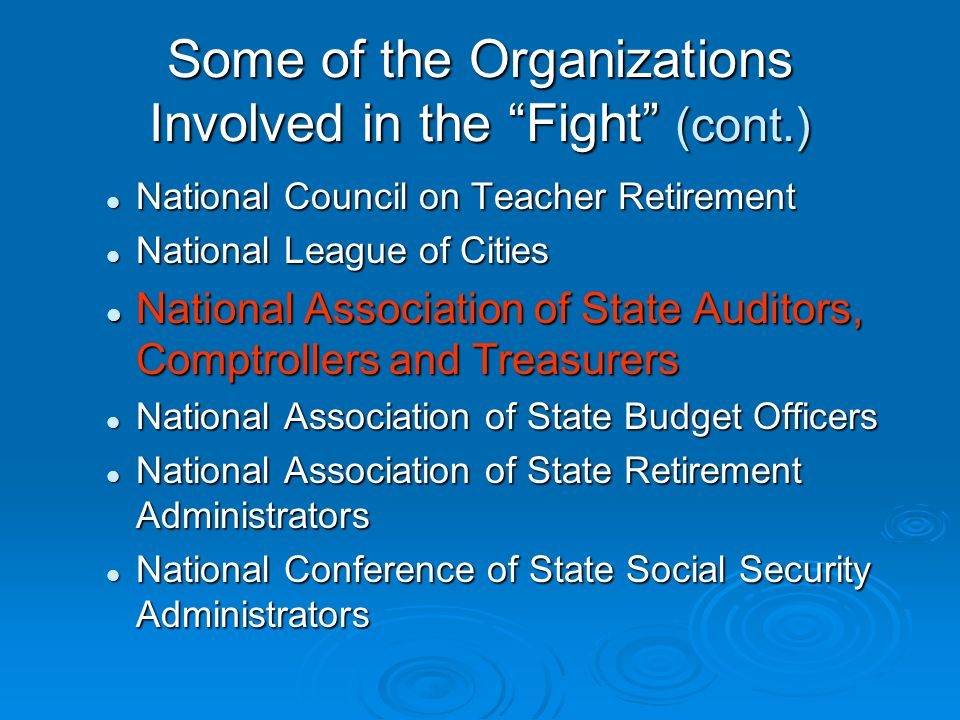 Some of the Organizations Involved in the Fight (cont.) National Council on Teacher Retirement National Council on Teacher Retirement National League