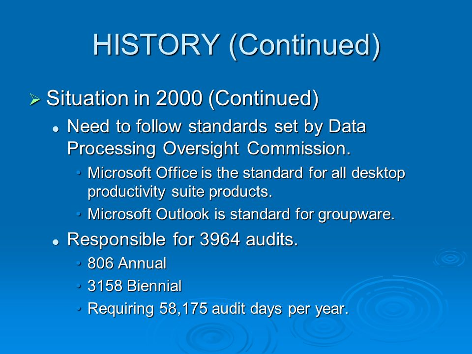 HISTORY (Continued) Situation in 2000 (Continued) Situation in 2000 (Continued) Need to follow standards set by Data Processing Oversight Commission.
