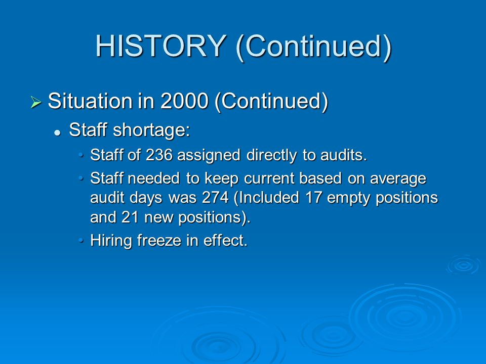HISTORY (Continued) Situation in 2000 (Continued) Situation in 2000 (Continued) Staff shortage: Staff shortage: Staff of 236 assigned directly to audits.Staff of 236 assigned directly to audits.