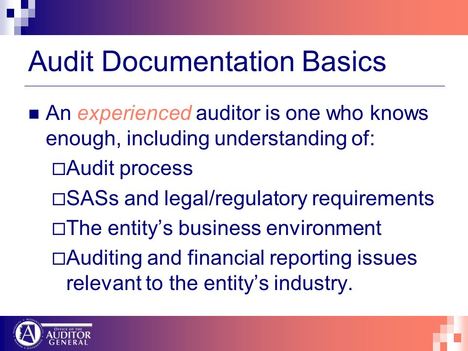 Audit Documentation Basics An experienced auditor is one who knows enough, including understanding of: Audit process SASs and legal/regulatory requirements The entitys business environment Auditing and financial reporting issues relevant to the entitys industry.
